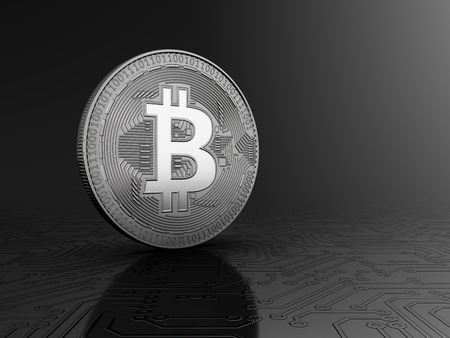 Silver bitcoin standing on a circuit board on a gray background. 3d illustration.