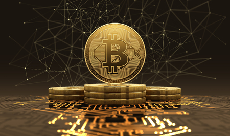 Golden bitcoins standing on circuit board, cryptocurrency concept. 3d illustration. Banque d'images