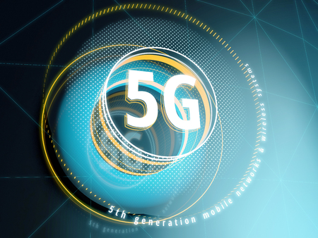 5G-teken op Sci-fi-interfaceachtergrond met HUD-elementen. 3D illustratie