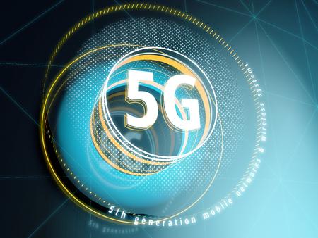 HUD 요소가있는 SF 인터페이스 배경의 5G 사인. 3D 일러스트 레이션