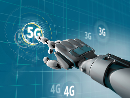 ロボットハンドは、HUD 要素を持つ特撮インターフェイスで 5 G の記号を選択します。無線通信の未来のコンセプト。3 d イラスト。