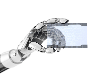 Robotics arm gives a empty digital business card. Artificial intelligence technology. 3d illustration isolated on white background.