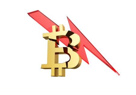 Bitcoin crash concept. 3D illustration. Stock Photo