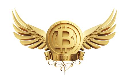 黄金の翼を持つビットコインのシンボル。3Dイラスト。