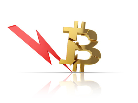 Broken bitcoin symbol with red arrow symbolise fall of cryptocurrency price. 3d illustration. Zdjęcie Seryjne