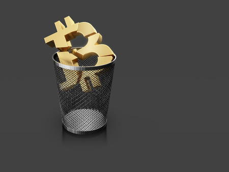 Bitcoin in the trash can. 3d illustration on gray background with copy space. Stock Illustration - 91807846