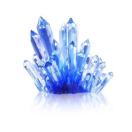 Blauwe kristallen cluster geïsoleerd op een witte achtergrond. 3D illustratie.