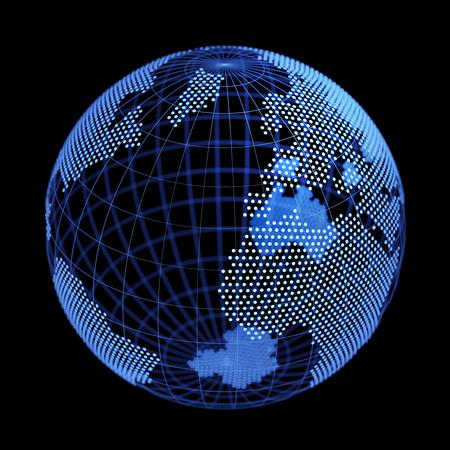 Digital Earth globe on black background. 3D illustration. Stock Photo