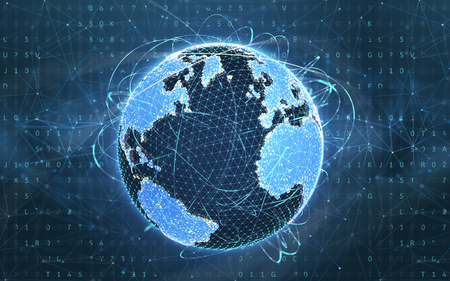 Digital world. Concept of wireless technology. 3D illustration