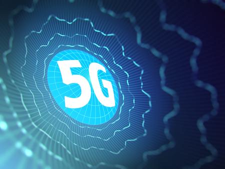 5G sign on blue digital background. 3D illustration Stock Photo