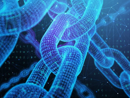 デジタルチェーン。ブロックチェーン技術の概念。3Dイラスト。
