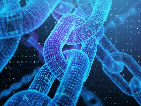 Digital chain. Blockchain technology concept. 3D illustration.