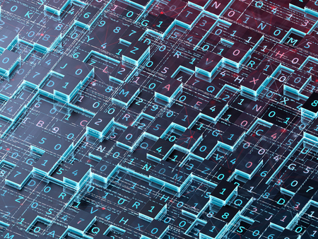 Blockchain technology concept. 3d illustration.  Foto de archivo
