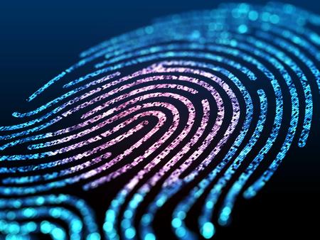 Digital fingerprint on a black background close up. 3d illustration.