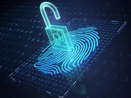 携帯電話の画面上のデジタル指紋と南京錠は、ロック解除プロセスを象徴しています。3D イラストレーション
