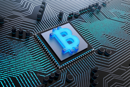cpu with a blue glowing bitcoin symbol, installed into computer circuit board. 3D illustration.