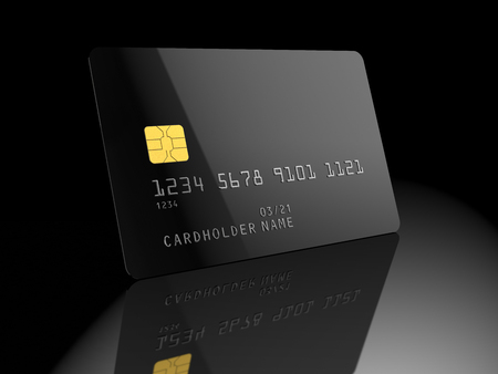 Black blank credit card, on black background. Empty template. 3D illustration. 스톡 콘텐츠 - 95919051