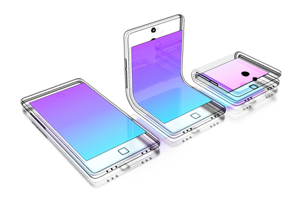 Abstract technical drawing of a foldable smartphone on white background. 3d illustration. 版權商用圖片
