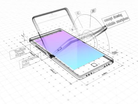 折りたたみ式スマートフォンの抽象的な3つのディメンタルスケッチ。技術的な図面。 3D イラストレーション。 写真素材