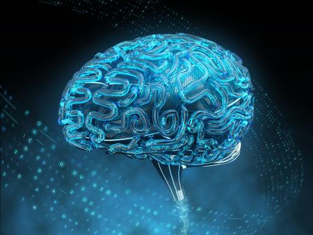 Digitales Gehirn mit künstlicher Intelligenz . 3D-Darstellung Standard-Bild - 98047337