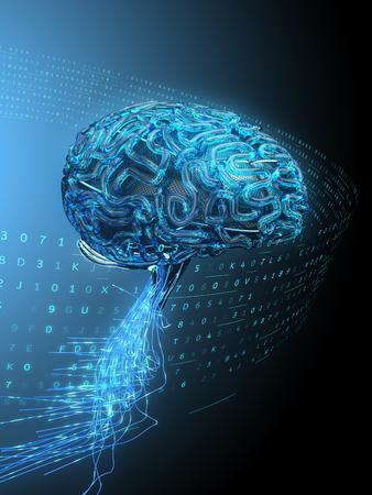 人工知能を持つデジタル脳。3D イラストレーション。