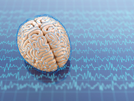 Human brain research. 3D illustration.