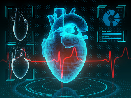 Holographic human heart in virtual reality. Futuristic diagnostic in medicine. 3d illustration. Banque d'images