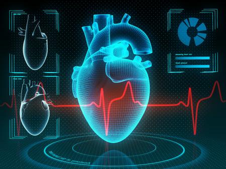 Corazón humano holográfico en realidad virtual. Diagnóstico futurista en medicina. Ilustración 3d