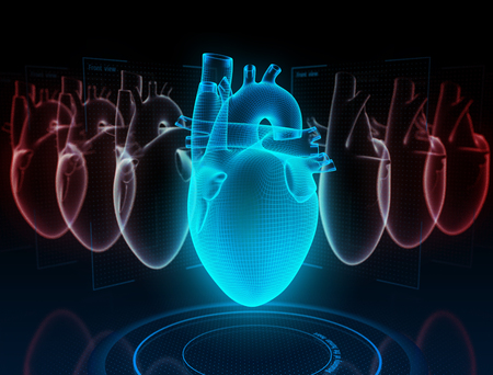 Heart research on the digital model in virtual reality. 3d illustration.