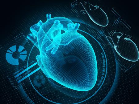 人工的な知性技術による人間の心臓診断。SF薬。3Dイラスト。