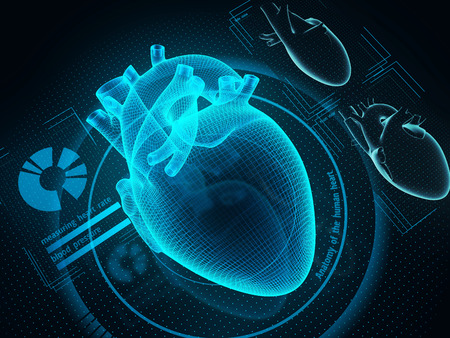 The human heart diagnostic through artificial inteligence technology. Sci-fi medicine. 3d illustration. Stockfoto
