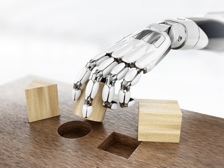 Robot in learning process, robotic hand play with Montessori wooden shapes. 3D illustration.
