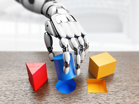 Robotic hand using wooden geometrical shapes at during machine learning. 3d illustration.