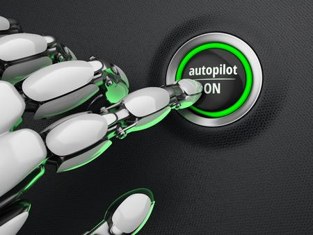 Robotic finger pressing a autopilot start button. Futuristic concept. 3D illustration.