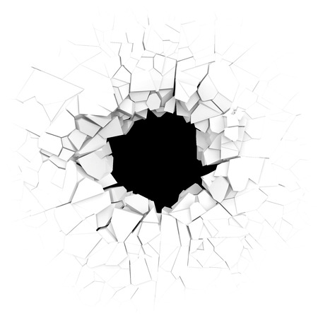 Broken white wall with a hole in the center. 3d illustration. 스톡 콘텐츠