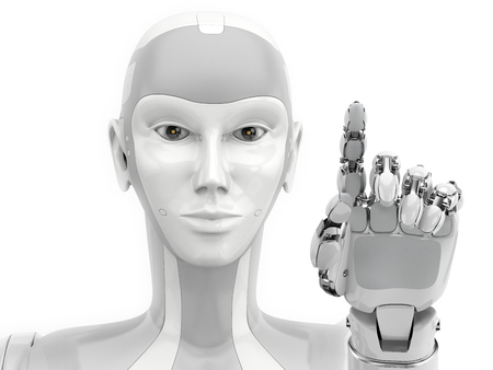 Robot hand points to something on white background. Empty template for representanive or advertising modern technology. 3d illustration.