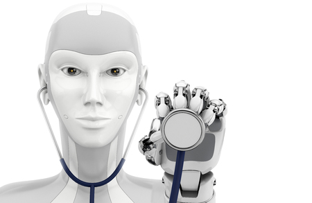 Robot hand holding the stethoscope. Medical technologies. 3d illustration isolatet on a white background. Stock fotó