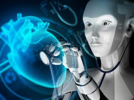 未来的な医療実験室でのロボット研究ホログラフィック心臓。3Dイラスト。科学の概念。