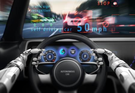 Robotic hands on steering wheel while driving autonomous car. 3D illustration. Stock fotó