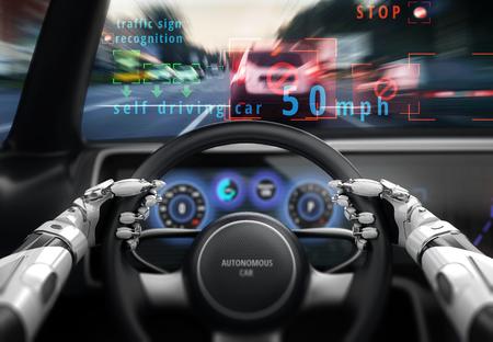 Robotic hands on steering wheel while driving autonomous car. 3D illustration. Stock Photo