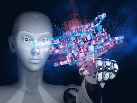 Robot with artificial intelligence working with big data. 3D illustration. Stock Photo