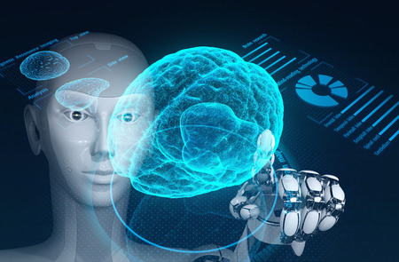 Robot research human brain by using augmented reality interface. 3D illustration.
