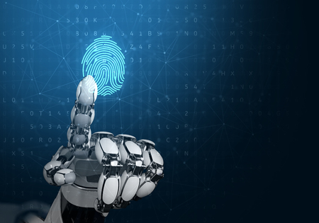 Robot hand touching digital fingerprint. Concept of recognition software or identity authentication. 3d illustration. Stock Photo