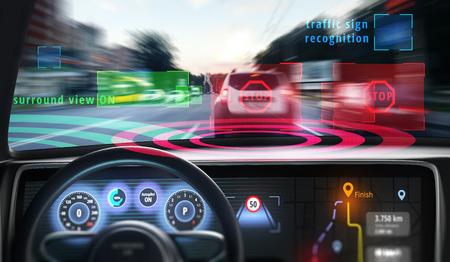 Mani robotiche sul volante durante la guida di un'auto autonoma. Illustrazione 3D. Archivio Fotografico