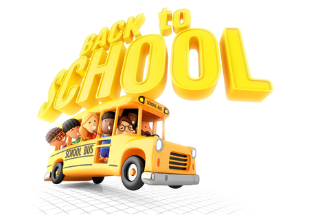Back to school! Smiling little girls and boys in yellow bus. 3D illustration Stock Photo