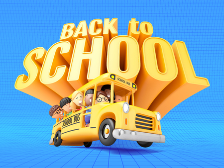 Back to school! Smiling little girls and boys in yellow bus. 3D illustration Фото со стока