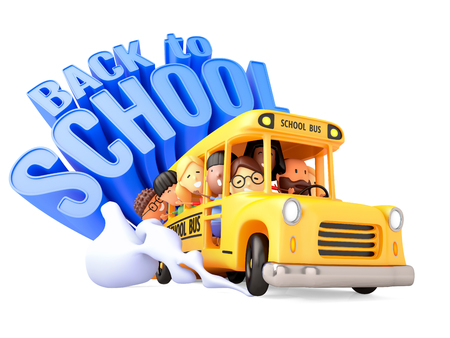 Back to School! Group of happy kids riding on a yellow bus. 3D illustration. Фото со стока