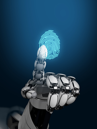 Robot hand touching digital fingerprint. Concept of recognition software or identity authentication. 3d illustration. Фото со стока