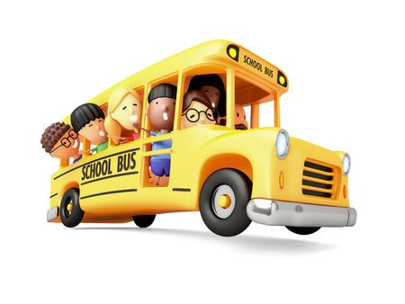 Happy elementary school kids on a cartoon yellow bus. 3D illustration. Stock fotó