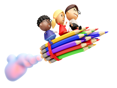 Funny school kids ride on a rocket. Isolated on white. 3D illustration.